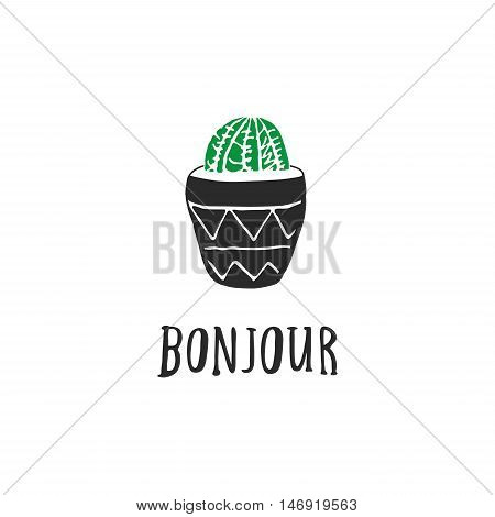 Hand Drawn Cacti With French Quotes