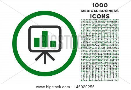 Slideshow Screen rounded vector bicolor icon with 1000 medical business icons. Set style is flat pictograms, green and gray colors, white background.