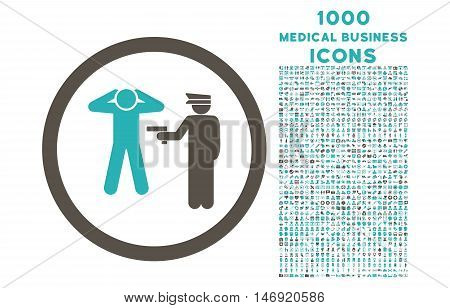 Arrest rounded vector bicolor icon with 1000 medical business icons. Set style is flat pictograms, grey and cyan colors, white background.