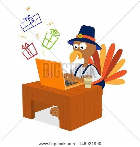 Turkey wearing pilgrim clothes is shopping for presents online. Eps10