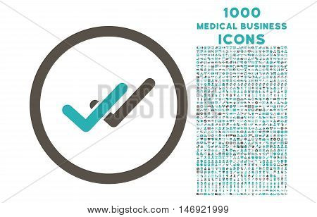 Validation rounded vector bicolor icon with 1000 medical business icons. Set style is flat pictograms, grey and cyan colors, white background.