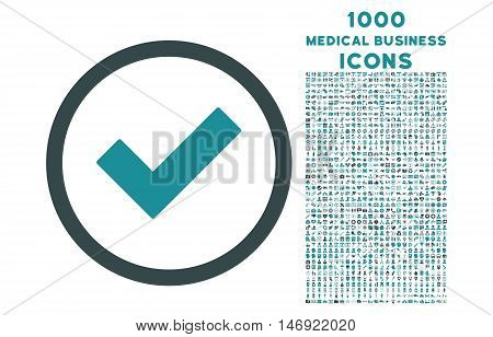 Accept rounded vector bicolor icon with 1000 medical business icons. Set style is flat pictograms, soft blue colors, white background.
