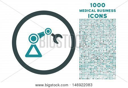 Artificial Manipulator rounded vector bicolor icon with 1000 medical business icons. Set style is flat pictograms, soft blue colors, white background.