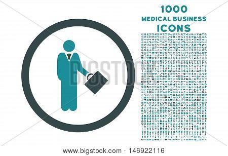 Businessman rounded vector bicolor icon with 1000 medical business icons. Set style is flat pictograms, soft blue colors, white background.