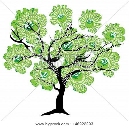 vector illustration of an abstract tree with green flowers