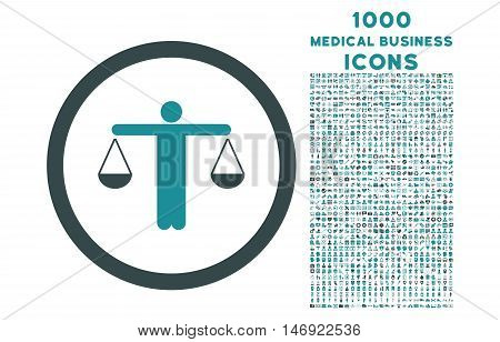 Lawyer rounded vector bicolor icon with 1000 medical business icons. Set style is flat pictograms, soft blue colors, white background.