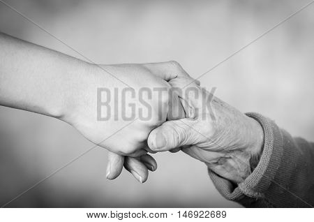 Closeup two hands holding each other appearing to be that of a young and one old person in black white edition.