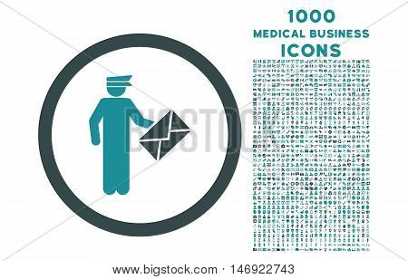 Postman rounded vector bicolor icon with 1000 medical business icons. Set style is flat pictograms, soft blue colors, white background.