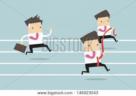 Business man running competition cartoon vector illustration