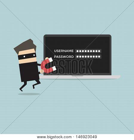 Hacker stealing passwords in comuter vector illustration