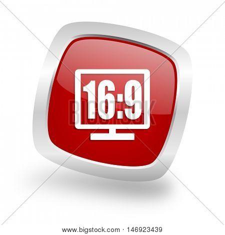 16 9 display square glossy red chrome silver metallic web icon