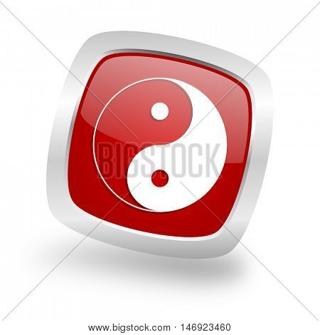 ying yang square glossy red chrome silver metallic web icon