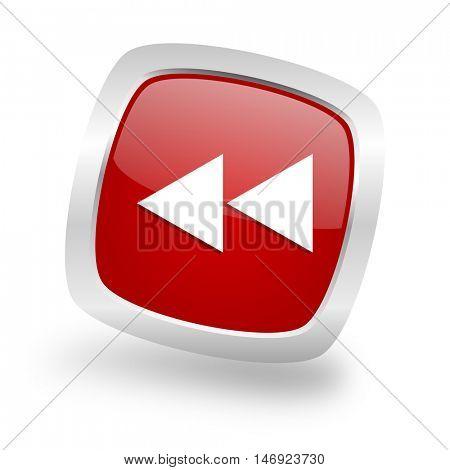 rewind square glossy red chrome silver metallic web icon