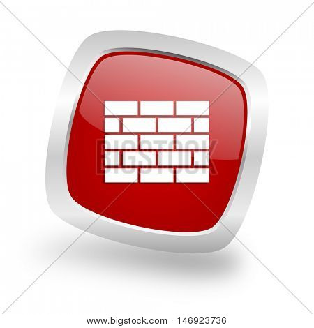 firewall square glossy red chrome silver metallic web icon