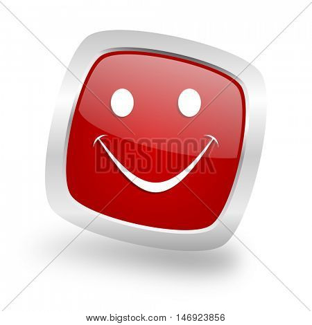 smile square glossy red chrome silver metallic web icon