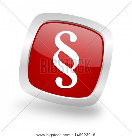 paragraph square glossy red chrome silver metallic web icon