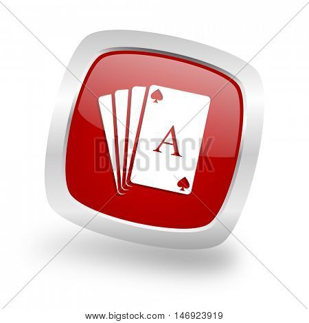 card square glossy red chrome silver metallic web icon