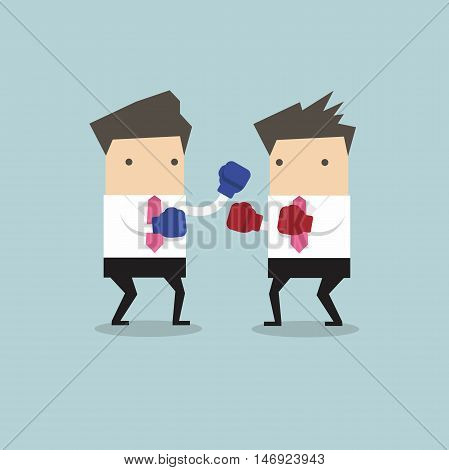 Two businessmen wearing boxing gloves fighting vector
