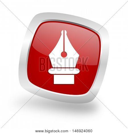pen square glossy red chrome silver metallic web icon