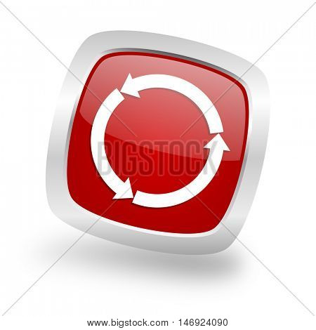 refresh square glossy red chrome silver metallic web icon