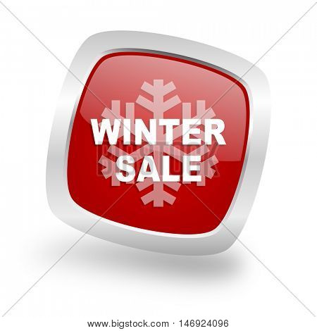 winter sale square glossy red chrome silver metallic web icon