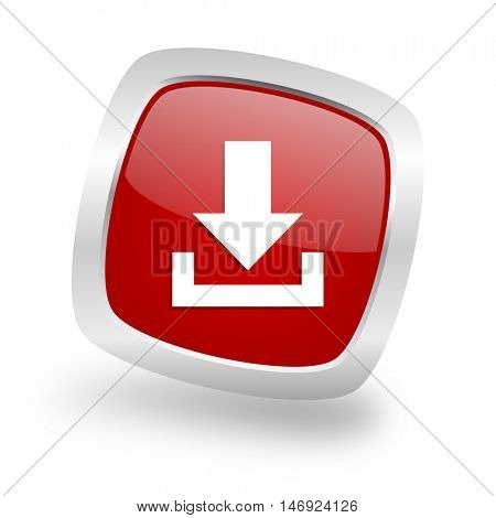 download square glossy red chrome silver metallic web icon
