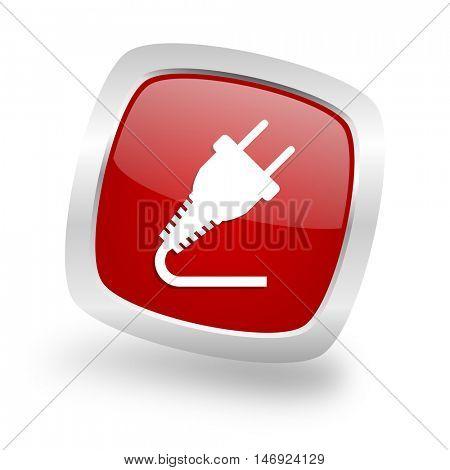 plug square glossy red chrome silver metallic web icon