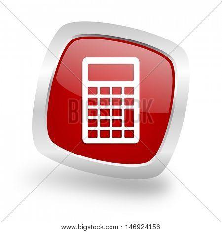 calculator square glossy red chrome silver metallic web icon