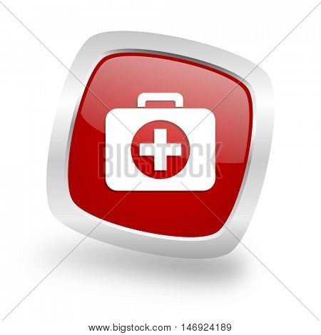 first aid square glossy red chrome silver metallic web icon