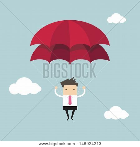 Businessman with parachute in the sky vector