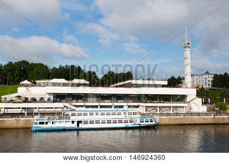 Passenger ship in the river port on the Volga river in Yaroslavl city
