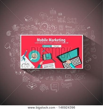 Mobile Marketing concept with Doodle design style :physics solution, re-engineering, parts design.Modern style illustration for web banners, brochure and flyers.