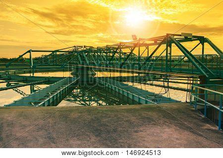 big tank of water supply in metropolitan waterworks industry plant site
