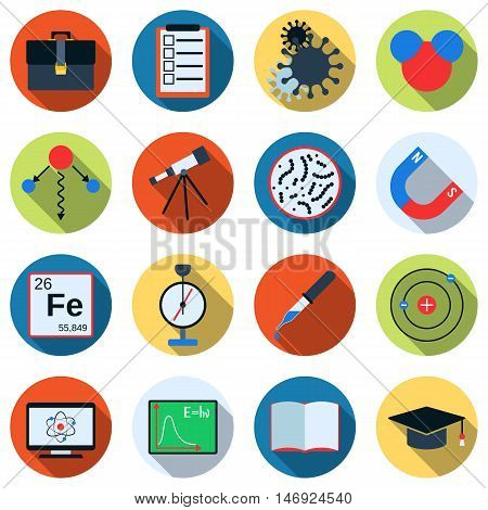 Science flat design style colorful vector icons with long shadows