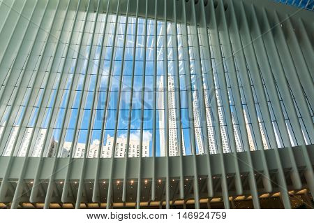 Skyward view from the Oculus - wall street new train station
