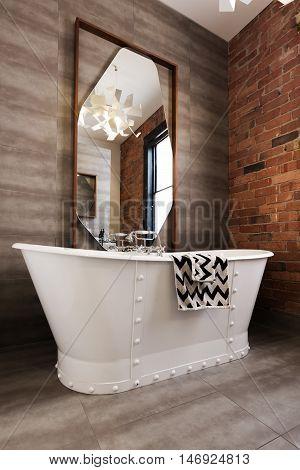 Classic white freestanding iron look bathtub in vintage style renovated bathroom