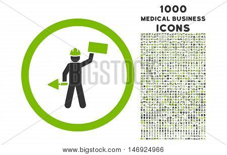Builder With Shovel rounded glyph bicolor icon with 1000 medical business icons. Set style is flat pictograms, eco green and gray colors, white background.
