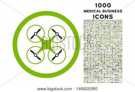 Copter rounded glyph bicolor icon with 1000 medical business icons. Set style is flat pictograms, eco green and gray colors, white background.