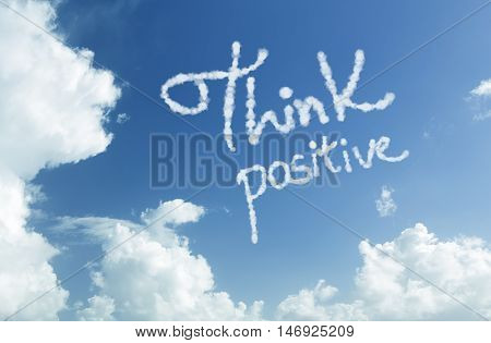 Think Positive written in the sky