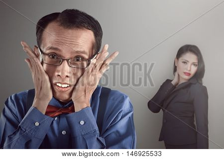 Asian Nerd Man Looking Shy