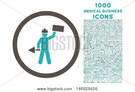 Builder With Shovel rounded glyph bicolor icon with 1000 medical business icons. Set style is flat pictograms, grey and cyan colors, white background.