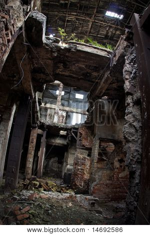 Abandoned Ruins of a former Factory. Creepy, grungy, gloomy industrial building
