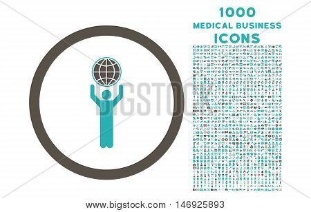 Globalist rounded glyph bicolor icon with 1000 medical business icons. Set style is flat pictograms, grey and cyan colors, white background.