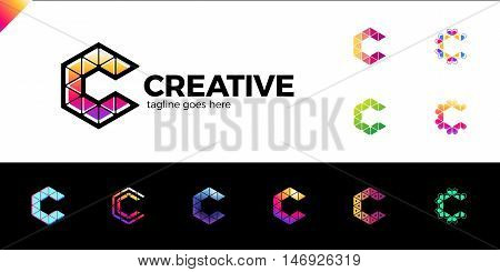 Clever, Creative, Triangle, Colorful, Letter C Logo. Smart And Idea Logotype Set. 11 Colorful Logos
