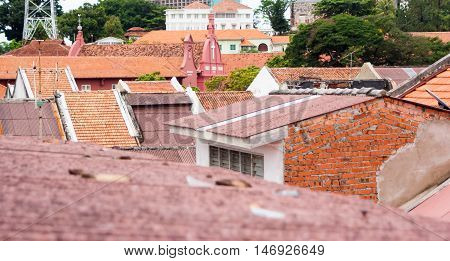 Red Tiled Roofs Of The Old Town In Melaka