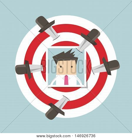 Businessman photo on target with knives vector