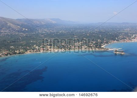 Aerial view on Zakynthos island Greece - Laganas Agios Sostis