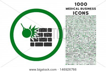 Wall Destruction rounded glyph bicolor icon with 1000 medical business icons. Set style is flat pictograms, green and gray colors, white background.