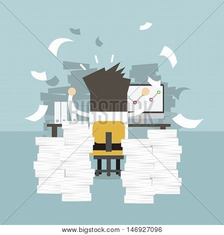 Businessman very busy on office table. work hard concept.