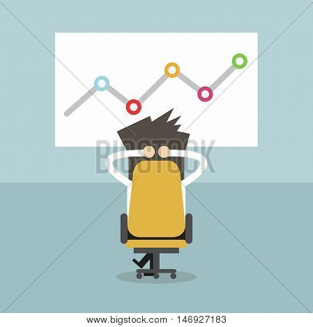 Businessman relaxing in his chair whit growing graph. Business idea, innovation, development and strategy vector